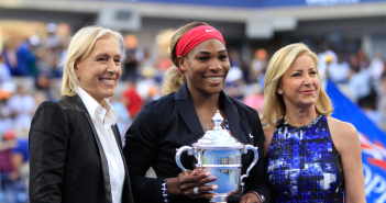 Serena Williams poses with Chris Evert and Martina Navratilova after winning the women's singles final at the 2014 US Open.
