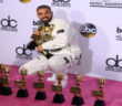 Rapper Drake poses in the press room with his awards during the 2017 Billboard Music Awards at the T-Mobile Arena on May 21, 2017 in Las Vegas, Nevada.
