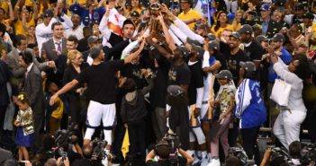 The Warriors celebrate after defeating the Cavaliers on June 12 in Oakland, California. Proud moment The Warriors celebrate after defeating the Cavaliers on June 12 in Oakland, California.