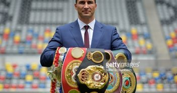 DUESSELDORF, GERMANY - JULY 21: Wladimir Klitschko poses on the pitch after a press conference at Esprit-Arena on July 21, 2015 in Duesseldorf, Germany. (Photo by Sascha Steinbach/Bongarts/Getty Images)
