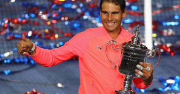NEW YORK, NY - SEPTEMBER 10:  Rafael Nadal of Spain poses with the championship trophy during the trophy ceremony after he defeated Kevin Anderson of South Africa in the Men's Singles Finals match on Day Fourteen of the 2017 US Open at the USTA Billie Jean King National Tennis Center on September 10, 2017 in the Flushing neighborhood of the Queens borough of New York City. Rafael Nadal defeated Kevin Anderson in the third set with a score of 6-3, 6-3, 6-4.  (Photo by Abbie Parr/Getty Images)