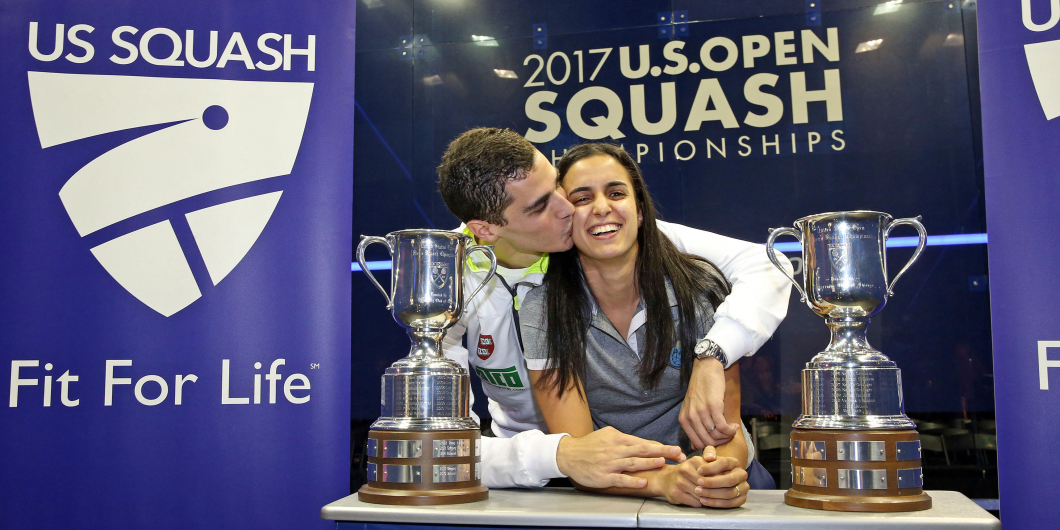 Ali Farag (left) and Nour El Tayeb (right) celebrate their U.S. Open title wins