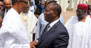 Pic 1. President Muhammadu Buhari (l) welcoming his Côte d'Ivoire counterpart, Alassane Ouattara (m) at the Presidential Villa in Abuja on Monday (30/10/17). With them is the Chief of Staff, to the President, Alhaji Abba Kyari  05761/30/10/2017/Sumaila Ibrahim/ICE/NAN