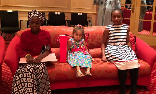 3 children who are guest of President Buhari at the Aso Rock
