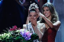 Nov. 26, 2017: Former Miss Universe Iris Mittenaere, right, crowns new Miss Universe Demi-Leigh Nel-Peters at the Miss Universe pageant in Las Vegas.  (AP)