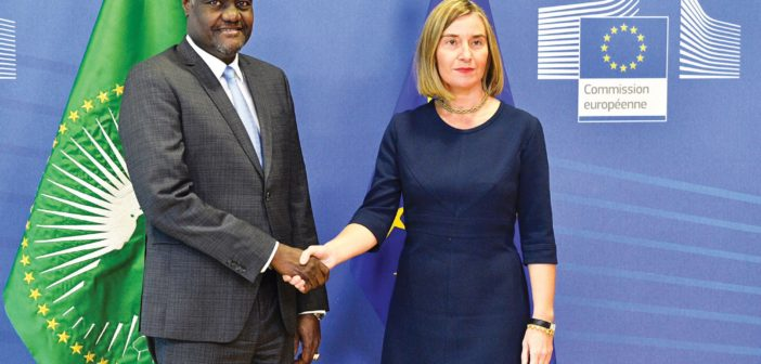 African Union Commission Chairman Moussa Faki Mahamat meets with EU High Representative for Foreign Affairs and Security Policy Federica Mogherini in Brussels, November 22, 2017.