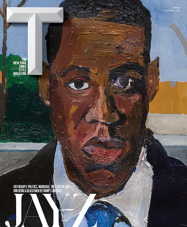 "On the Cover Jay-Z is featured in T's Dec. 3 Holiday issue, with a portrait created exclusively for T by Henry Taylor. Learn more about Taylor's process and work in T's studio visit. ""I Am a Man,"" 2017.  © Henry Taylor.  Photo: © Manuel Franquelo-Giner. Courtesy of the artist and Blum & Poe, Los Angeles/New York/Tokyo."