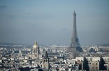The Eiffel Tower and the dome of Les Invalides, are seen along the skyline of the French capital Paris from the tower at the Notre Dame Cathedral